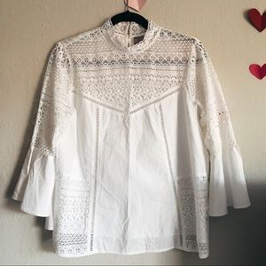 ASOS high neck white lace blouse with bell sleeves